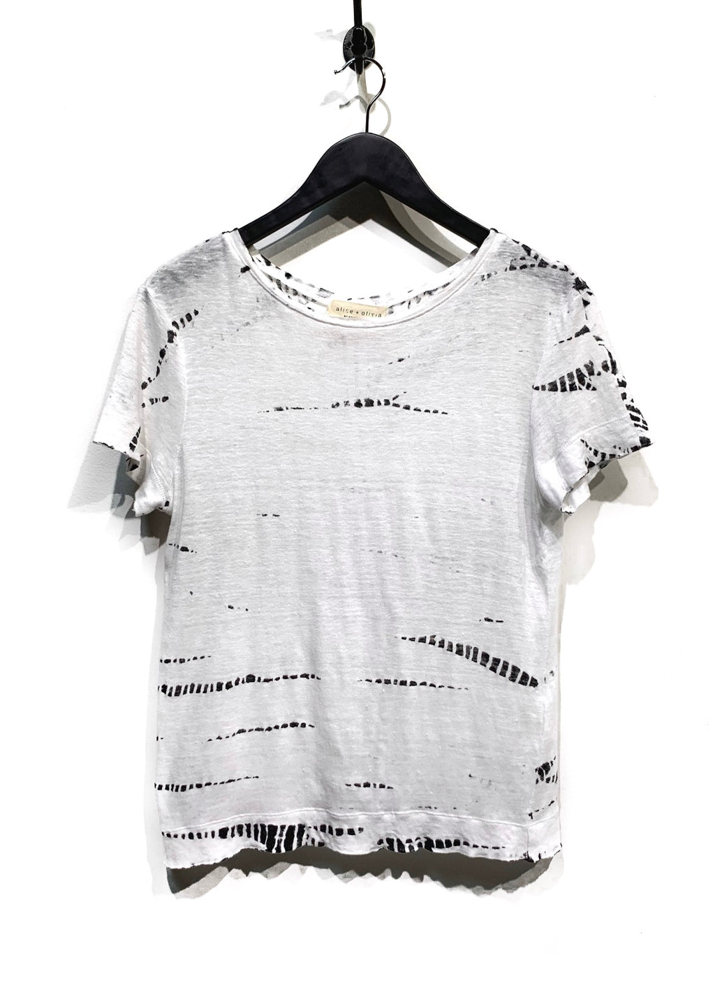 Alice + Olivia White Perforated Printed Linen T-Shirt