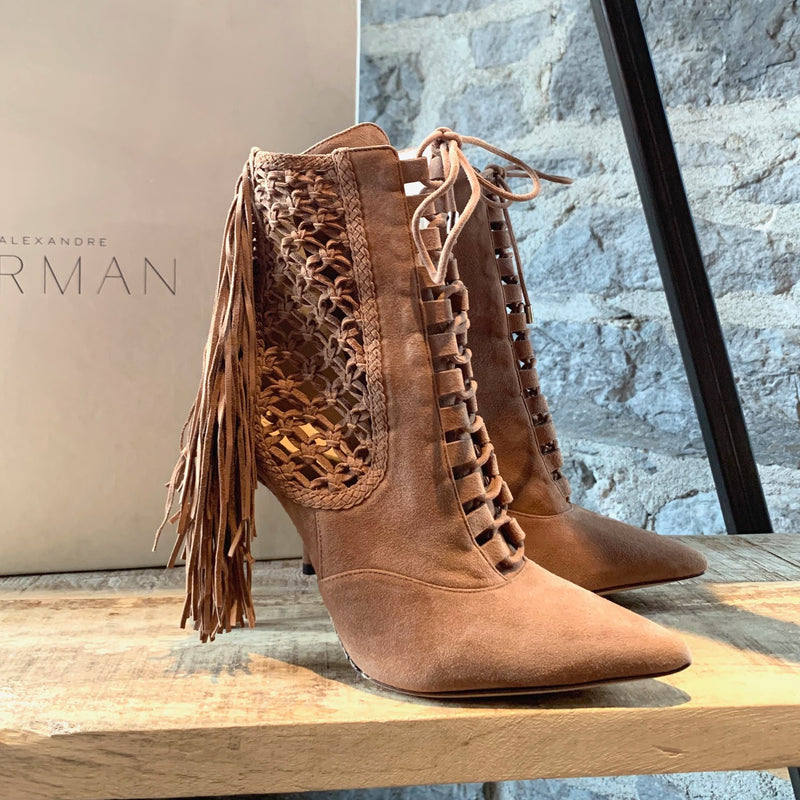 Alexandre Birman Tan Suede Katys Fringed Booties