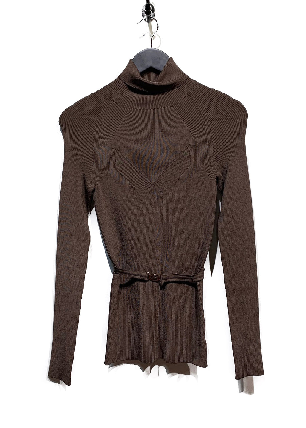 Gucci Brown Viscose Belted Top