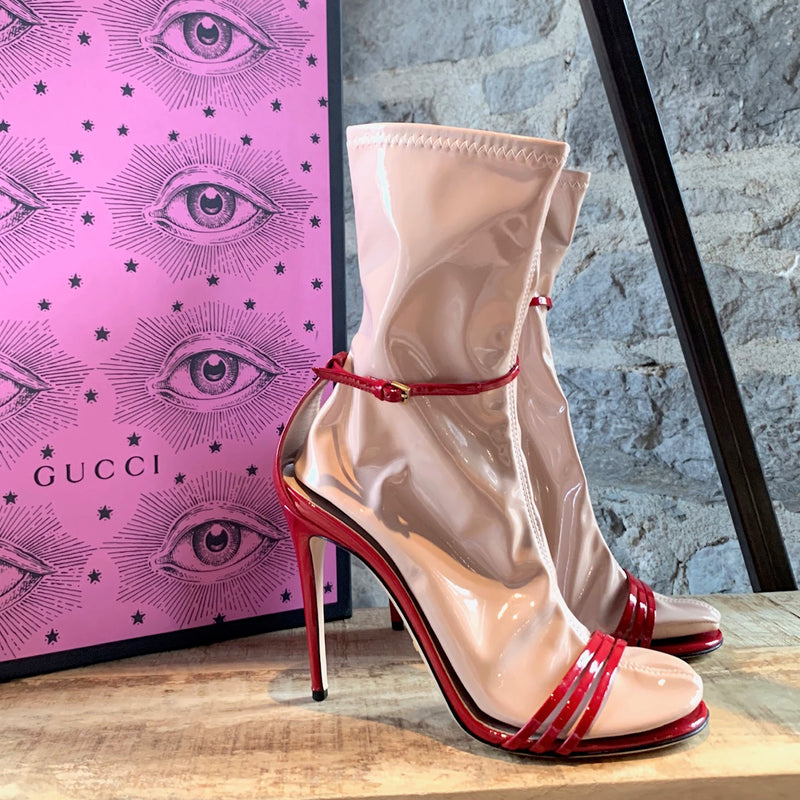 Gucci Red Patent Ilse Heeled Sandals With Latex Socks