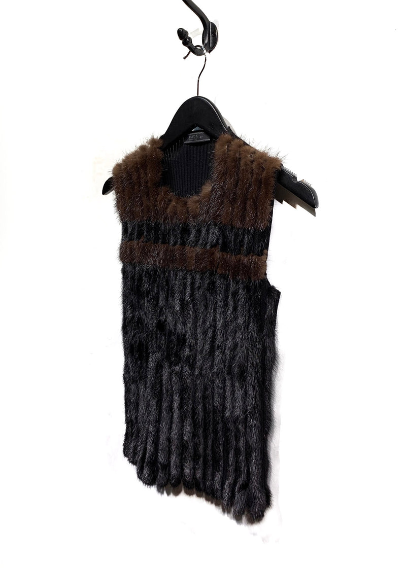 Prada Vintage Black And Brown Mink And Wool Sleeveless Sweater