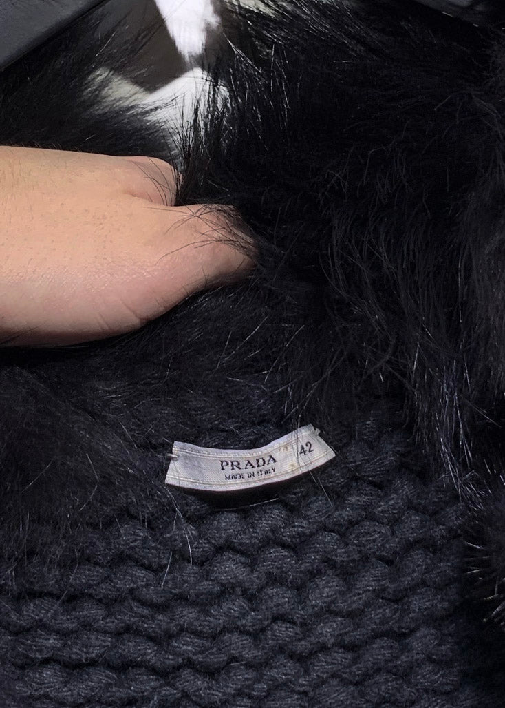 Prada Charcoal Knit Vest with Black Fur