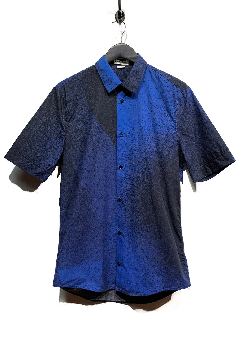 Balenciaga Blue Black Paint Splatter Buttoned Shirt