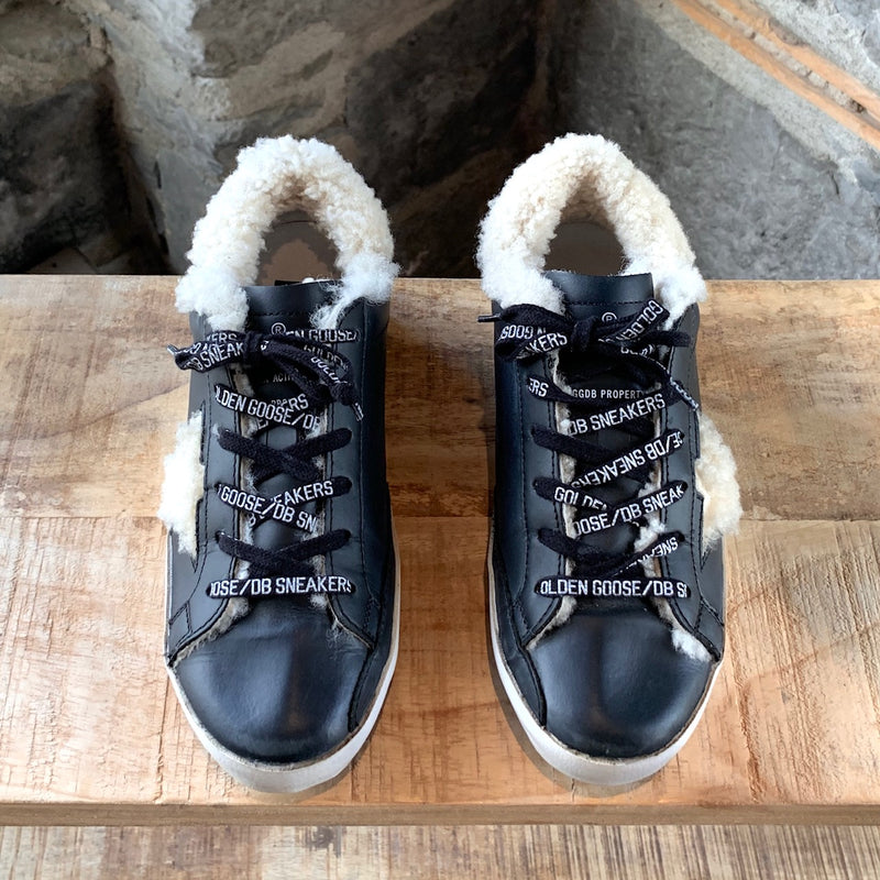 Golden Goose Black Leather Shearling Superstar Sneakers