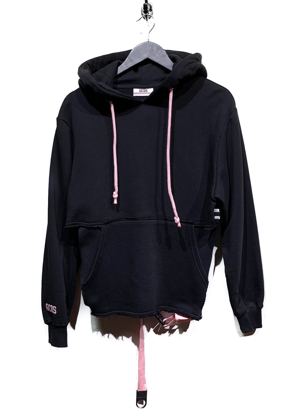 GCDS Black Pink Belted Embroidered Half Hoodie