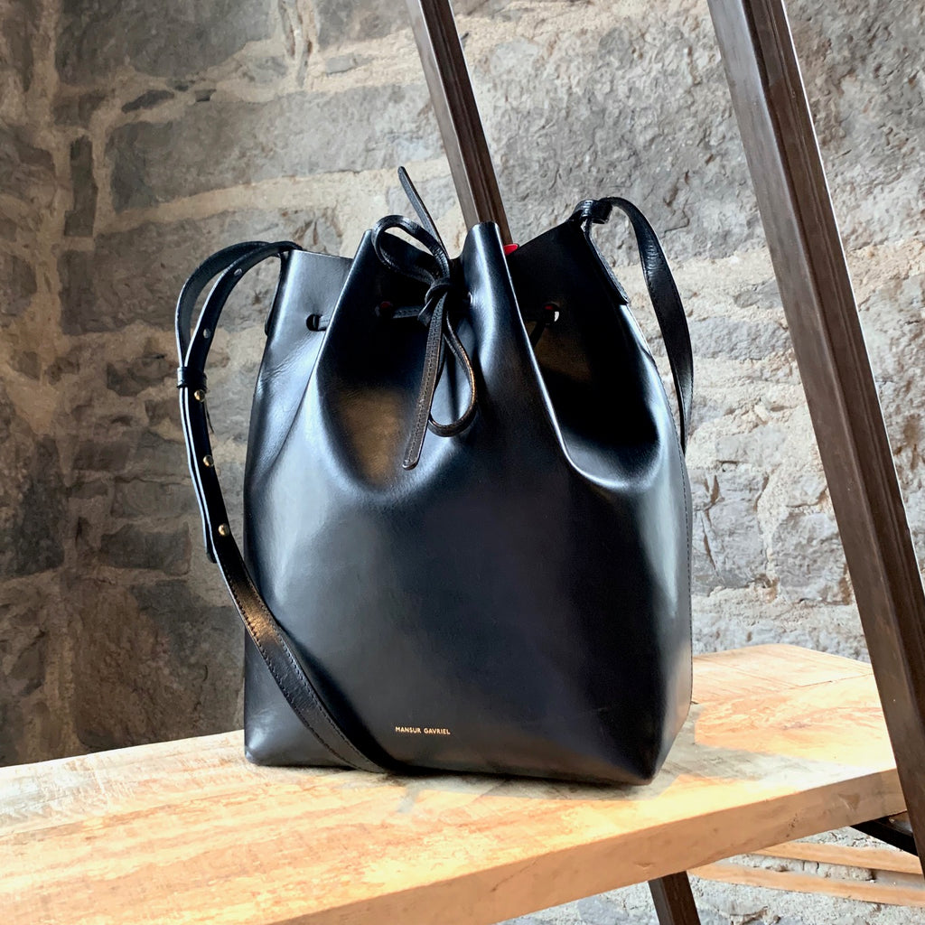 Mansur Gavriel Black & Flamma Leather Bucket Bag