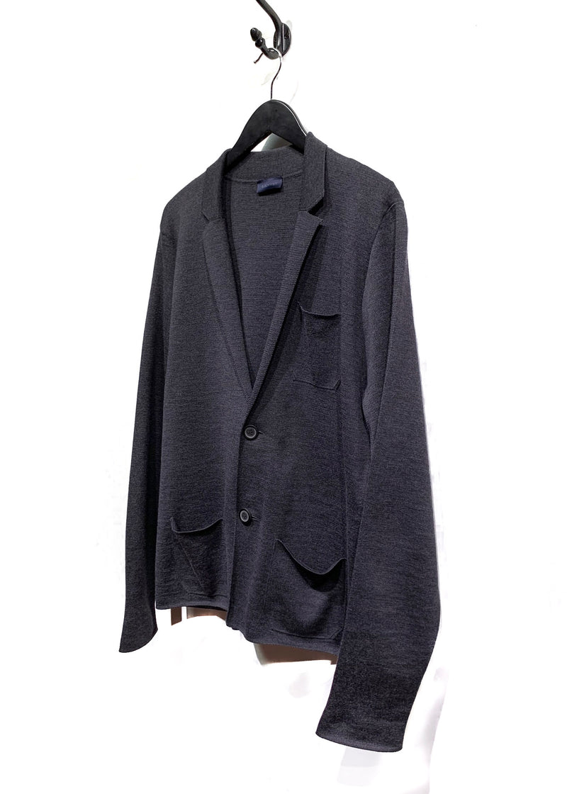 Lanvin Charcoal Wool Knit Blazer Cardigan