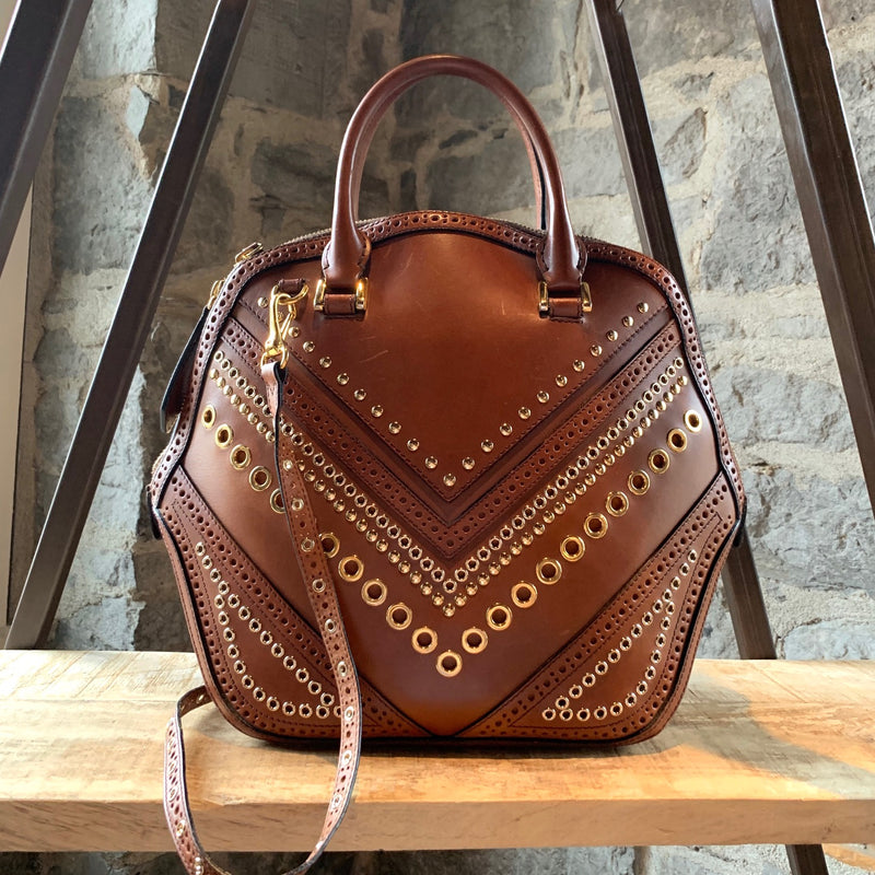 Burberry Brown Orchard Eyelets Studded Handbag