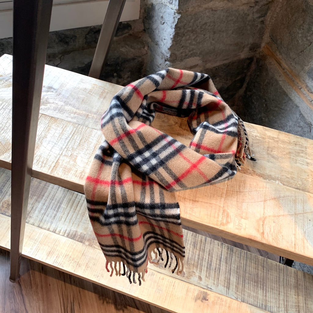 Burberry Vintage Iconic House Check Cashmere Beige Scarf
