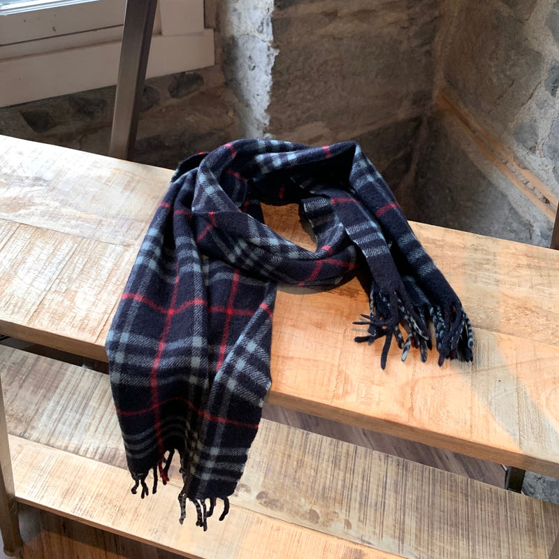 Burberry Vintage Iconic House Check Cashmere Navy Scarf