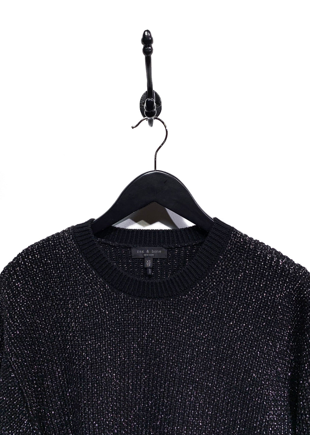 Rag & Bone Black Silver Lurex Cropped Knit Sweater