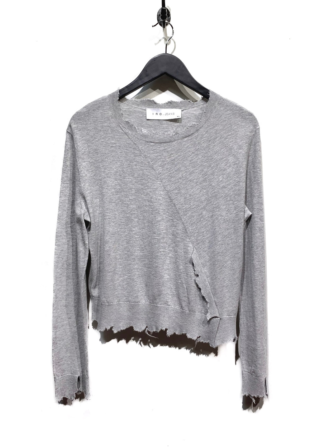 Iro Jeans Light Grey Destroyed Cotton Cashmere Sweater