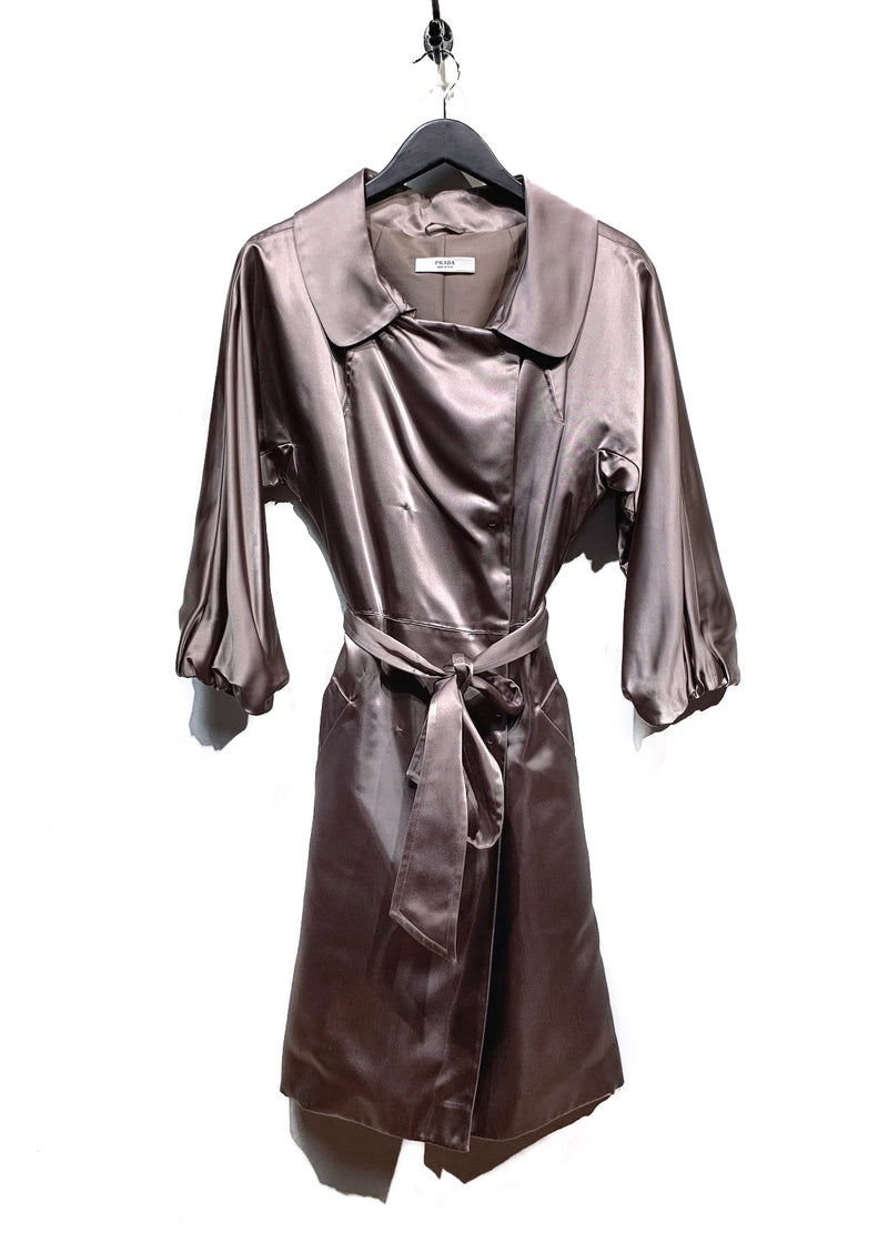 Prada Champagne Canapa Satin Double Breasted Trench Coat
