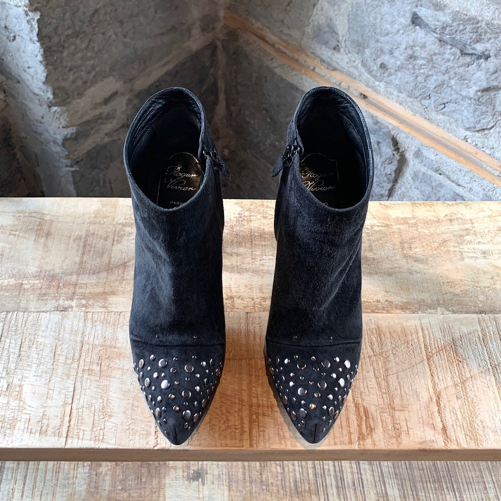 Roger Vivier Black Studded Suede Heeled Booties