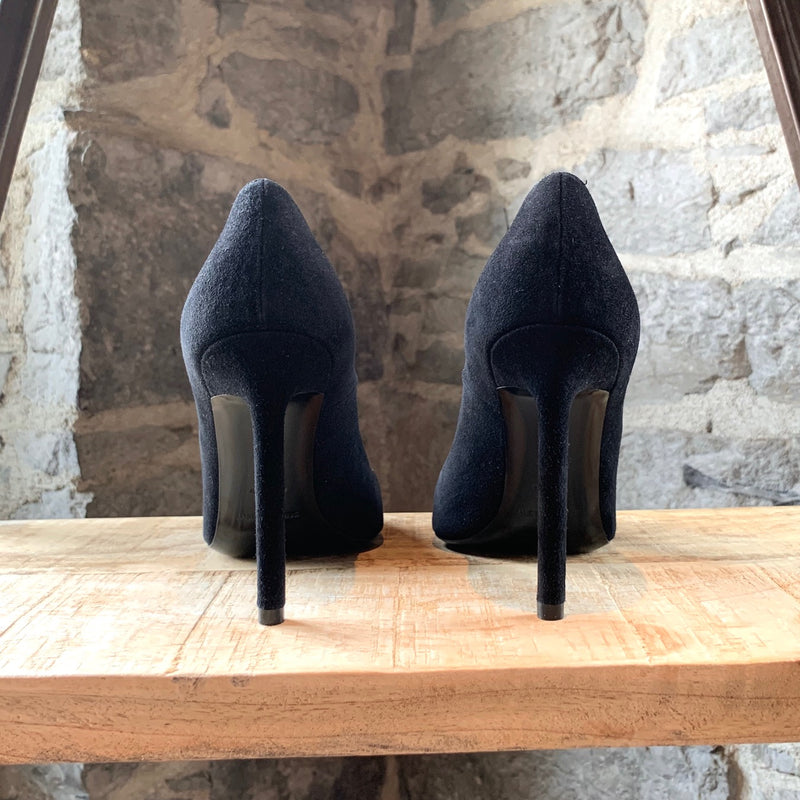 Saint Laurent Paris Black Suede Anja Heels