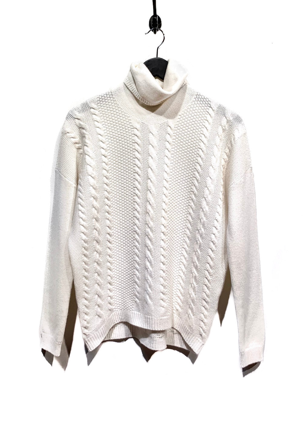 Peserico Ivory Cable Knit Wool Blend Turtleneck Sweater