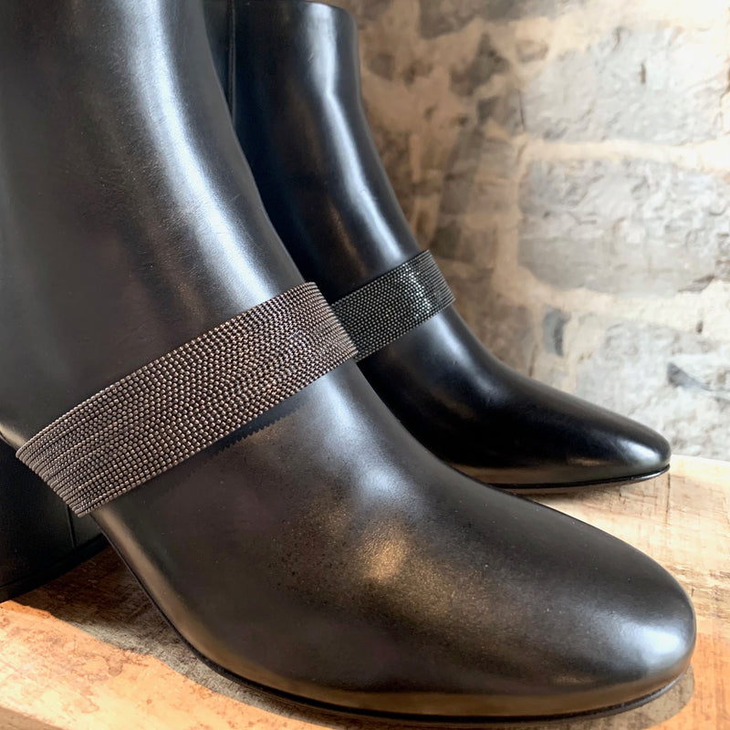 Brunello Cucinelli Black Leather Block-Heel Bootie with Monili Strap