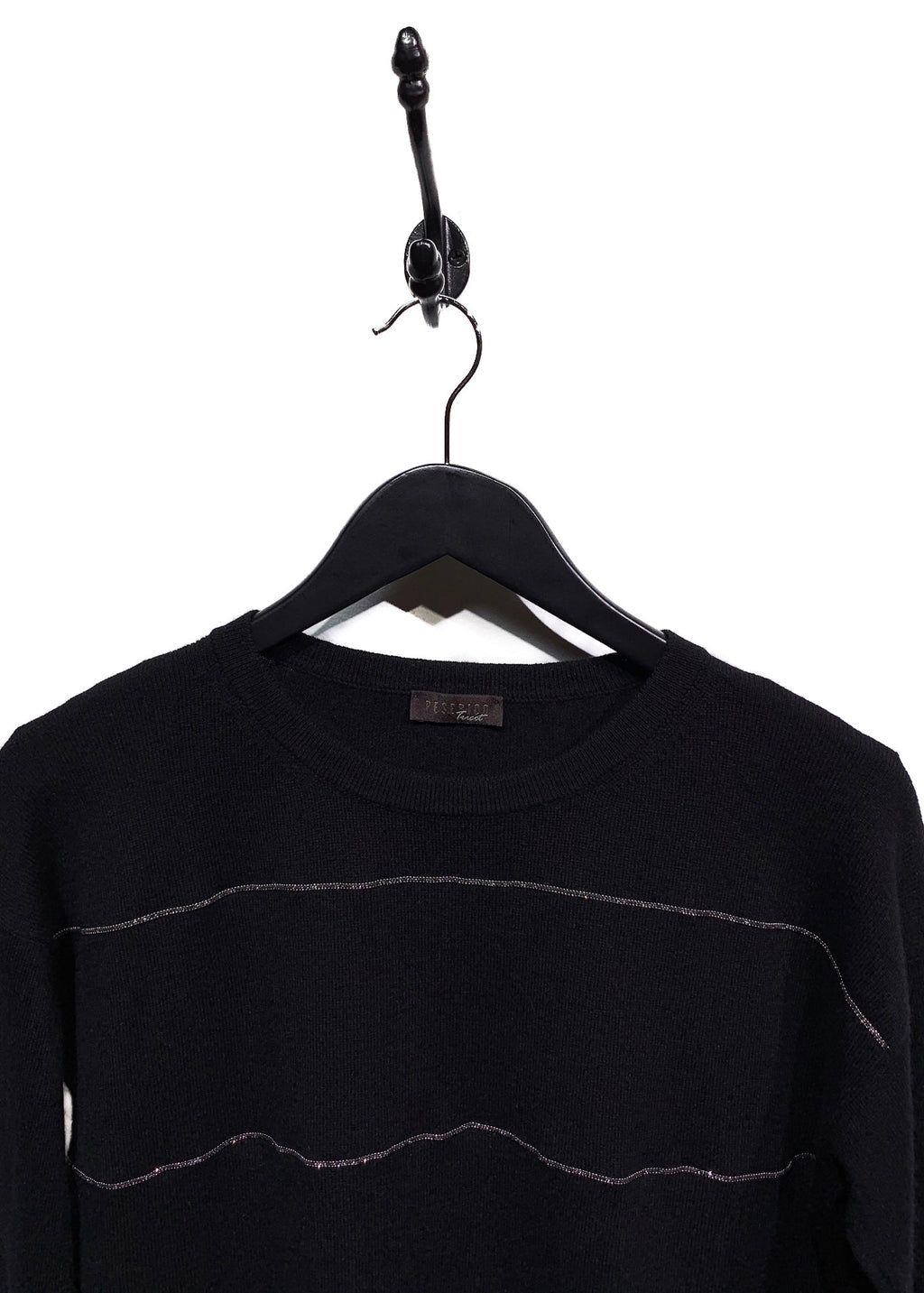 Peserico Tricot Black Wool Blend Beaded Trims Sweater