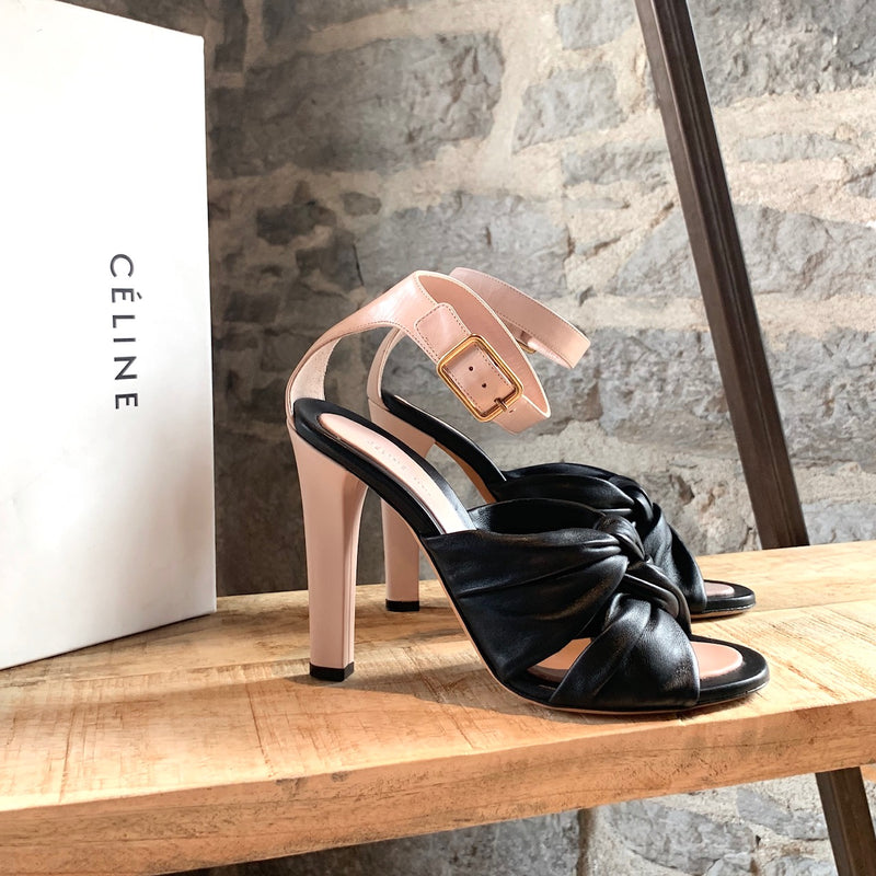 Céline Navy And Pink Knot Heeled Sandals