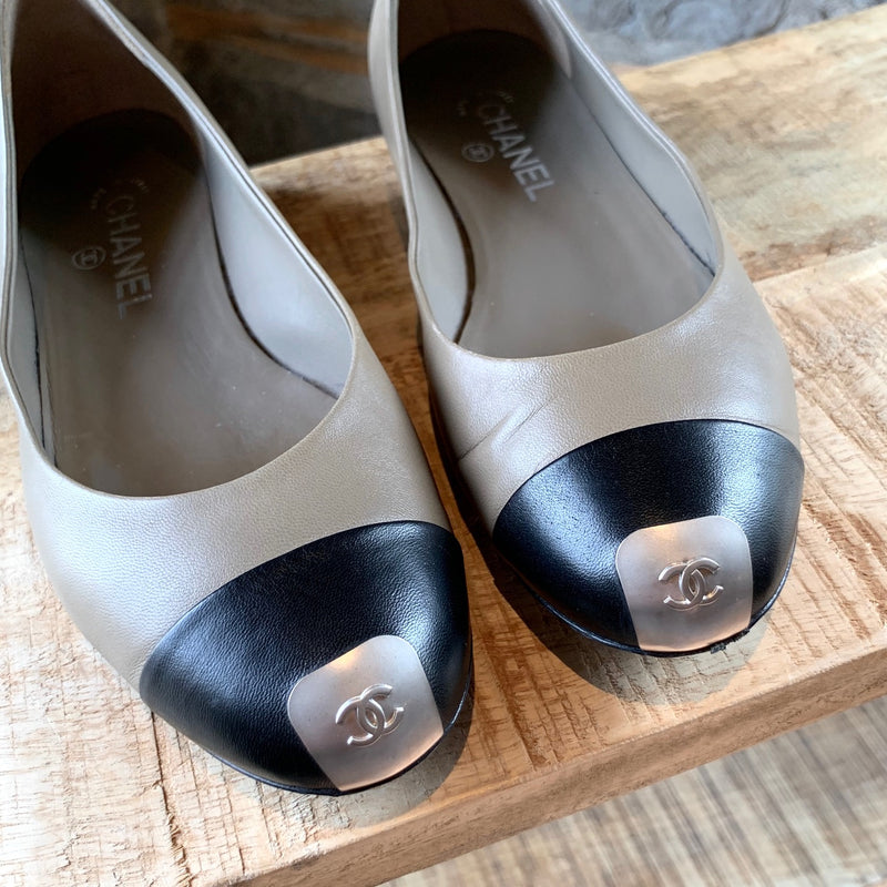 Chanel Brown Cap Toe Flat with Logo Plaque