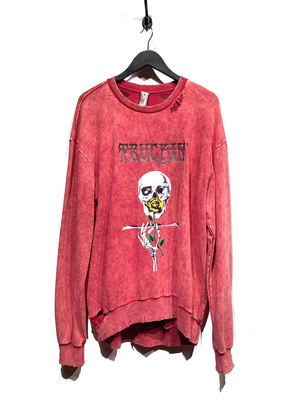 "Alchemist Hold Fast 2018 Pink ""Truckin"" Embroidered Skull Print Destroyed Sweatshirt"