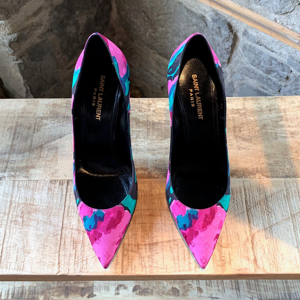 Saint Laurent Paris Fabric Flower Jacquard Pumps