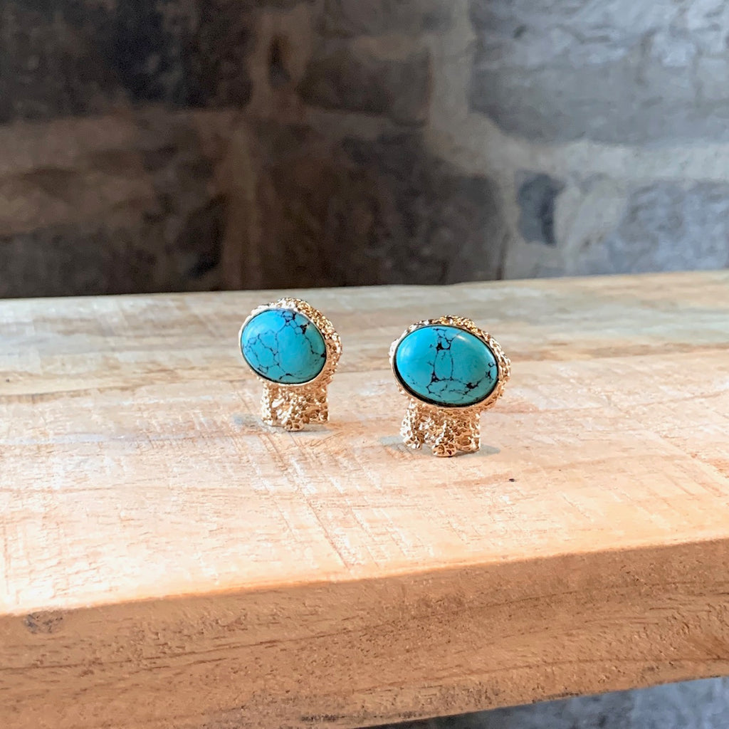Yves Saint-Laurent Gold Turquoise Artsy Earrings