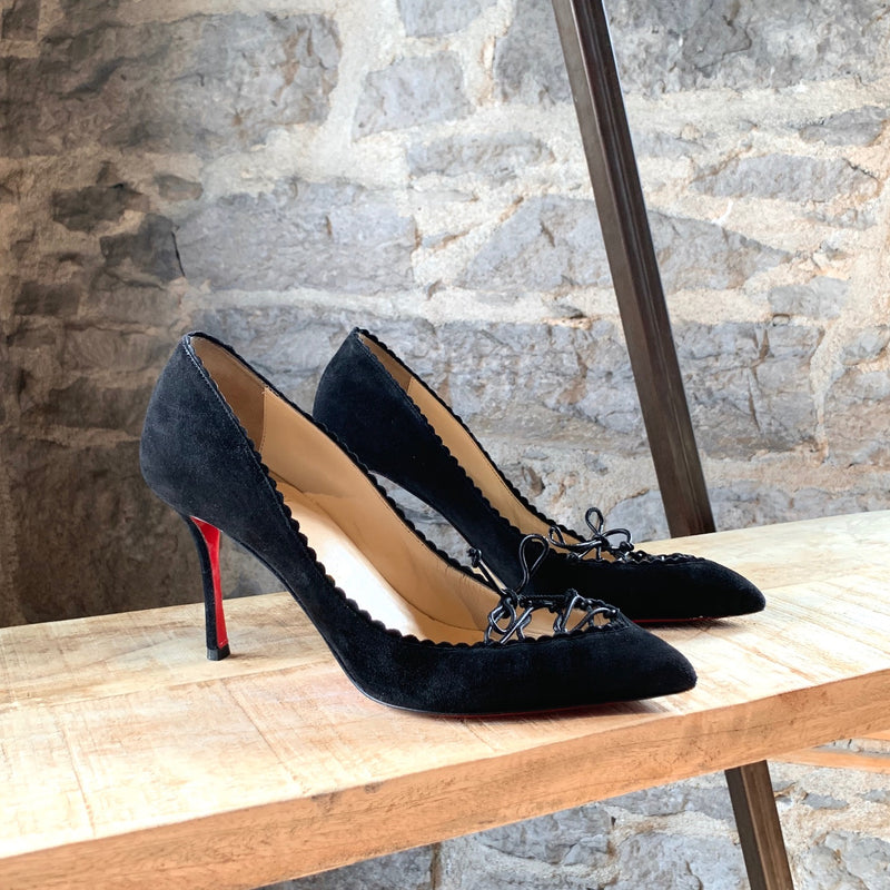 Christian Louboutin Black Suede Nappy Laced Scalopump 85mm