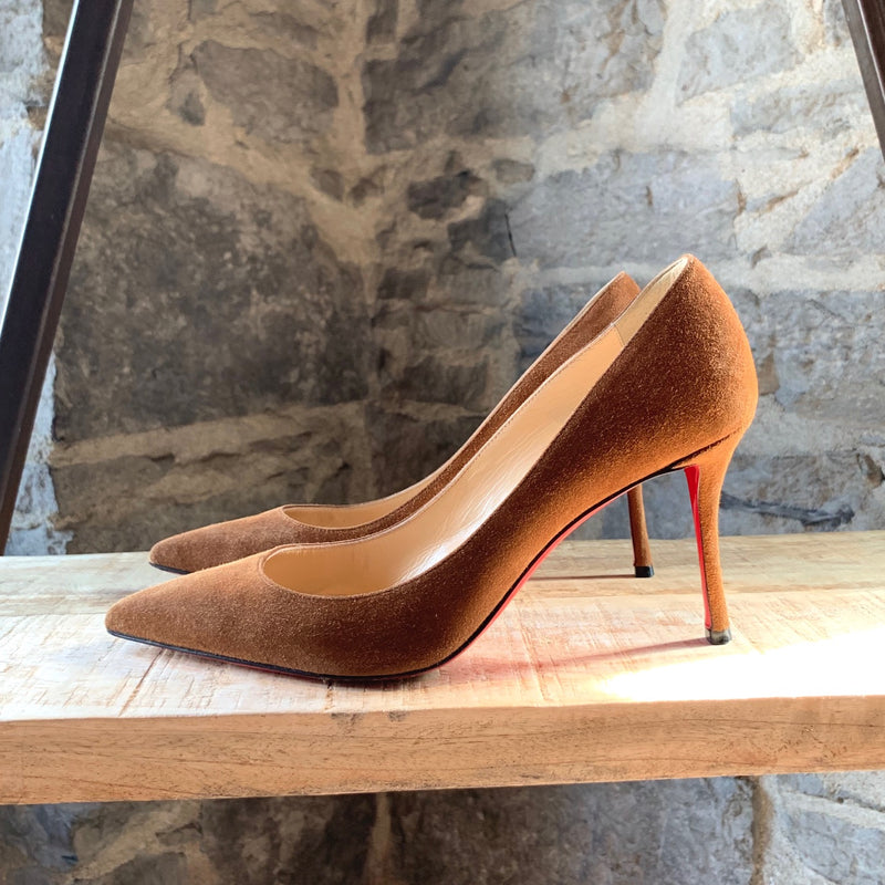 Christian Louboutin Tobacco Suede Decoltish 85mm Pumps