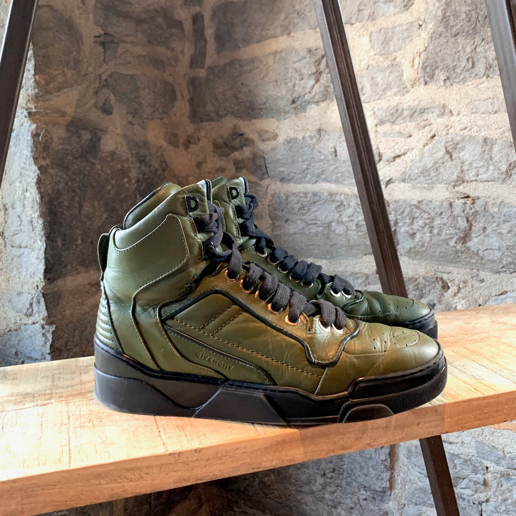 Givenchy Green Tyson Leather High-top Sneakers