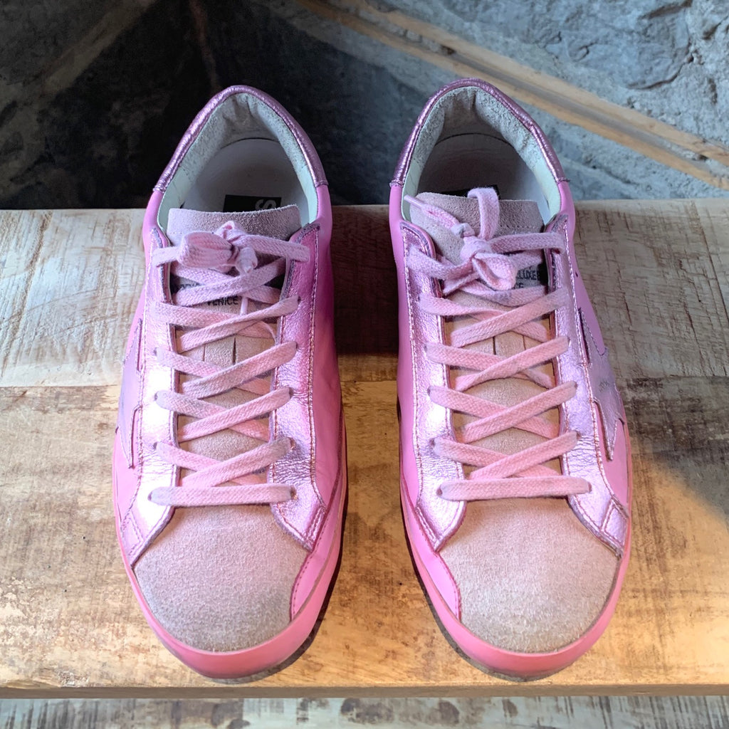 Golden Goose Pink Superstar Low Top Sneakers
