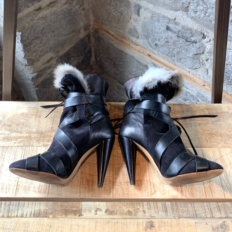 Isabel Marant Black Suede Fur Wrap Around Booties