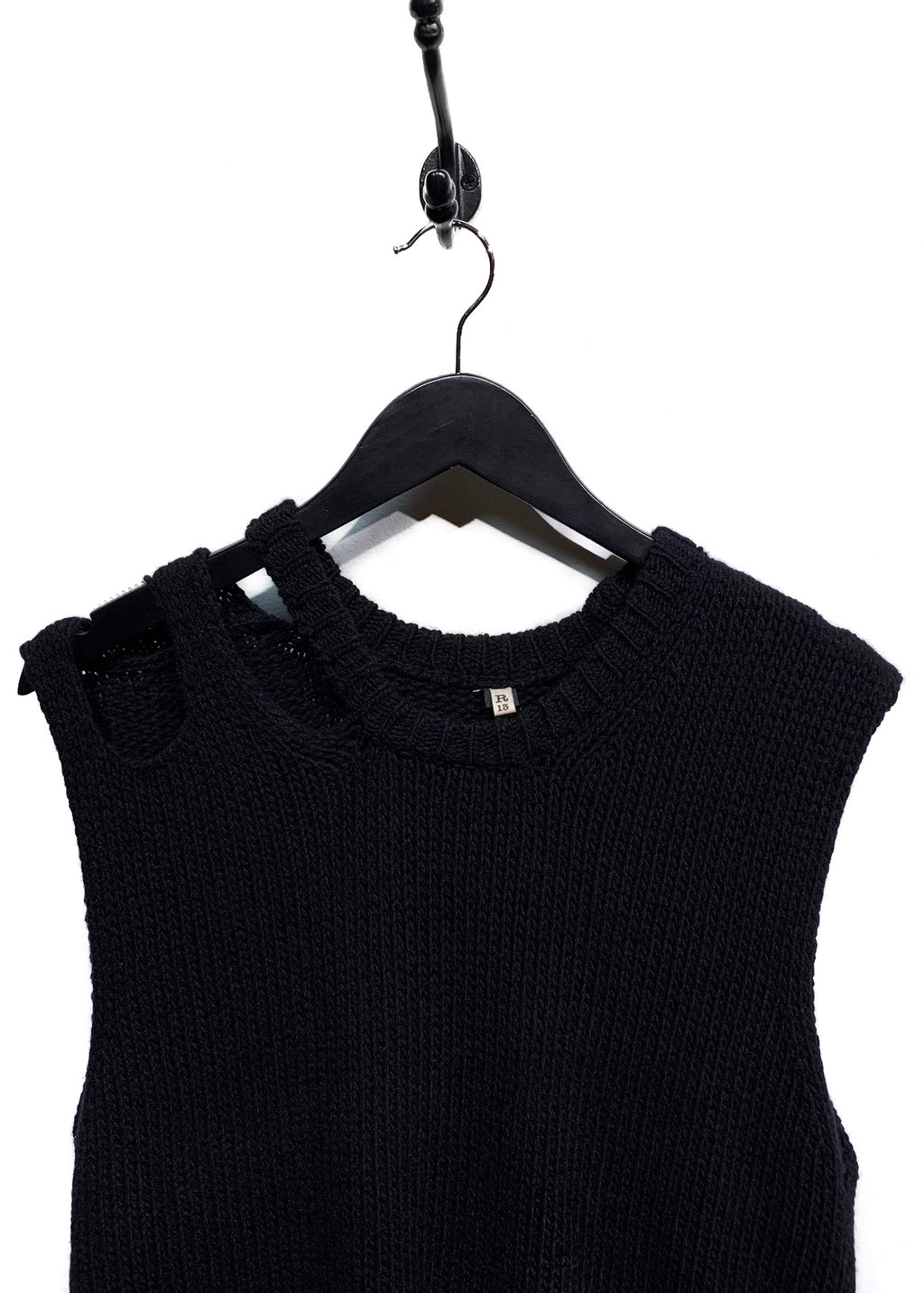 R13 Black Cashmere Loose Knit Distressed Sleeveless Top