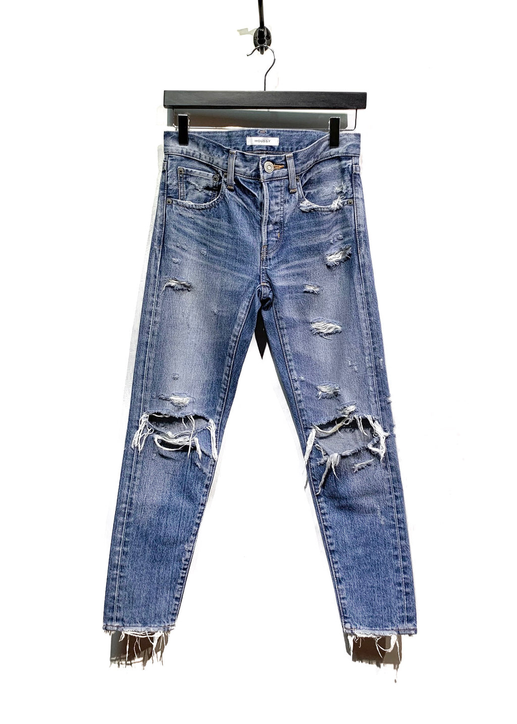 Moussy Washed Blue Destroyed Jeans