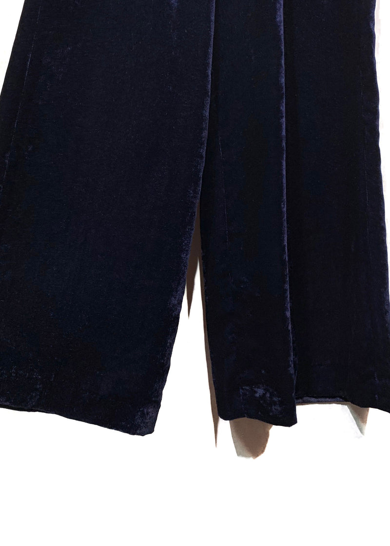 Nili Lotan Navy Blue Velvet Wide Leg Trousers