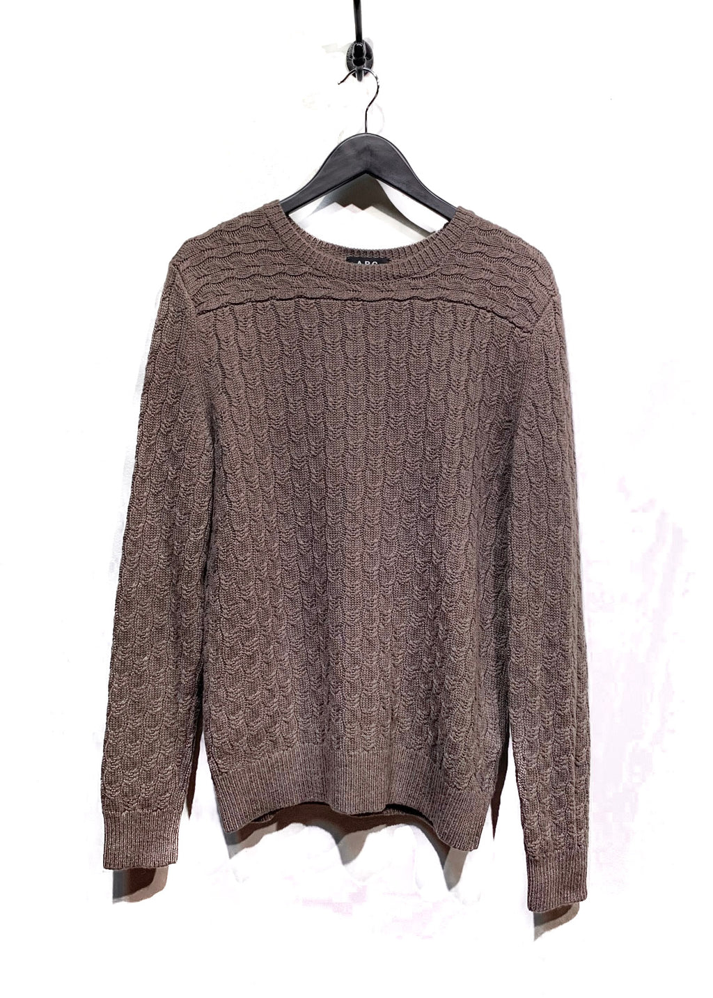A.P.C. Taupe Merino Wool Cable Knit Sweater