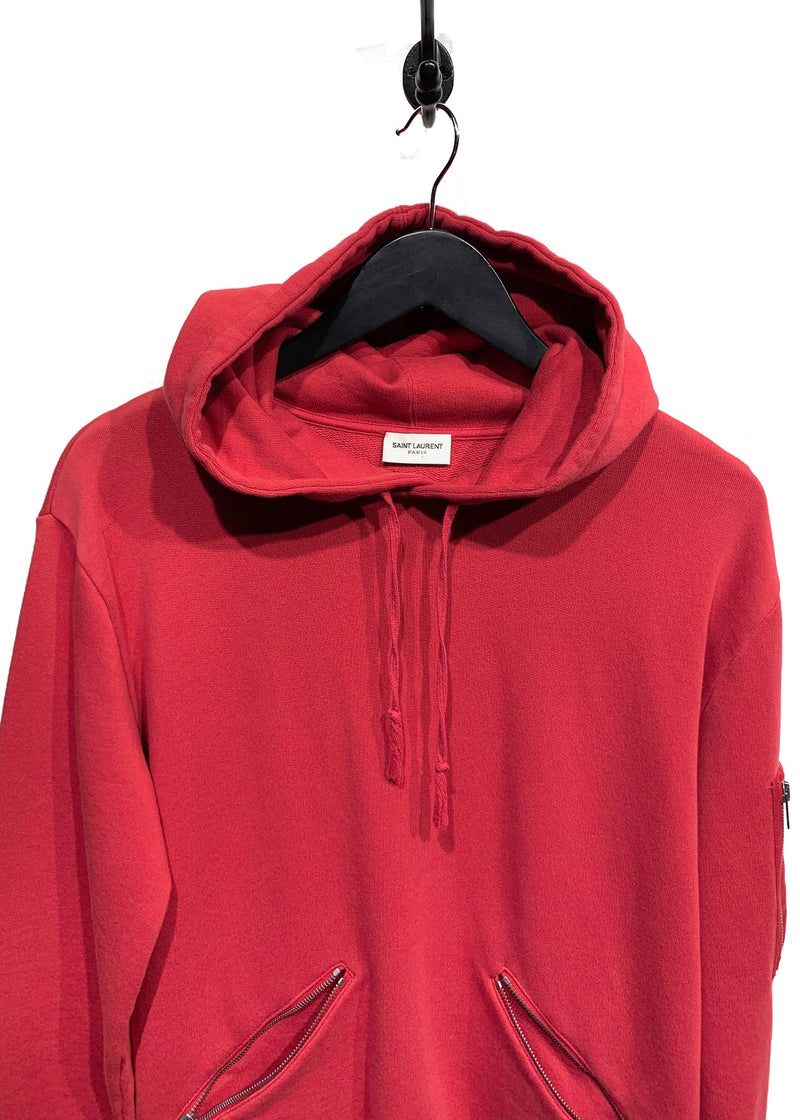 Saint Laurent Poppy Red Zippered Hoodie