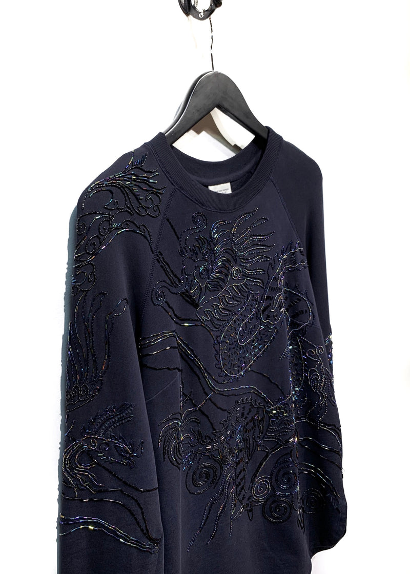 Dries Van Noten Blue Navy Dragon Embellished Sweatshirt