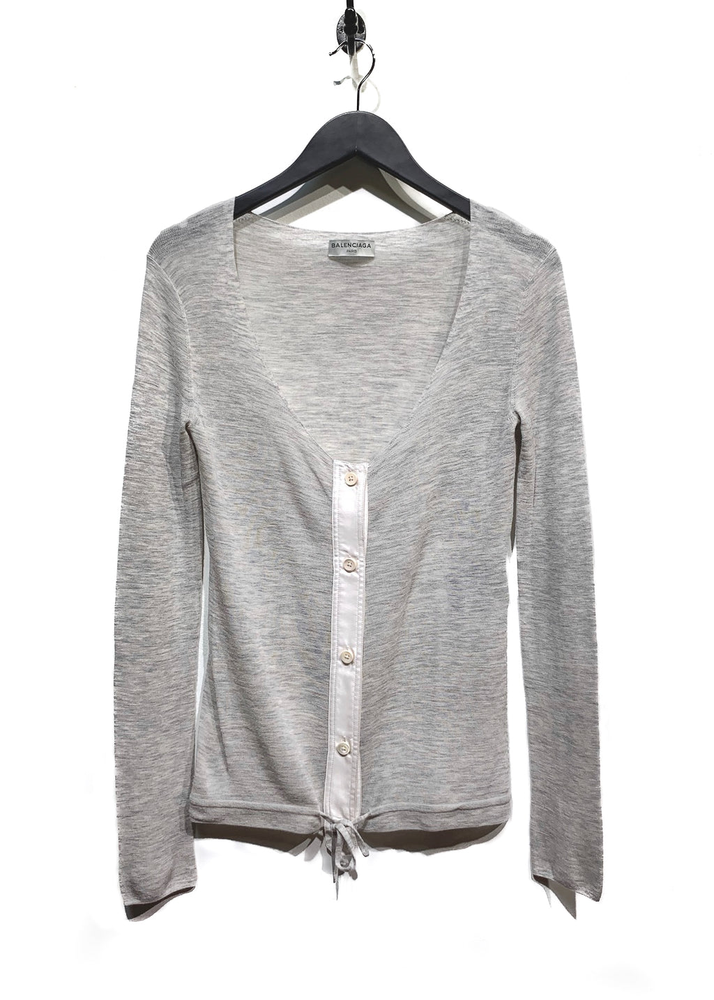 Balenciaga Light Grey Drawstring Deep Cardigan