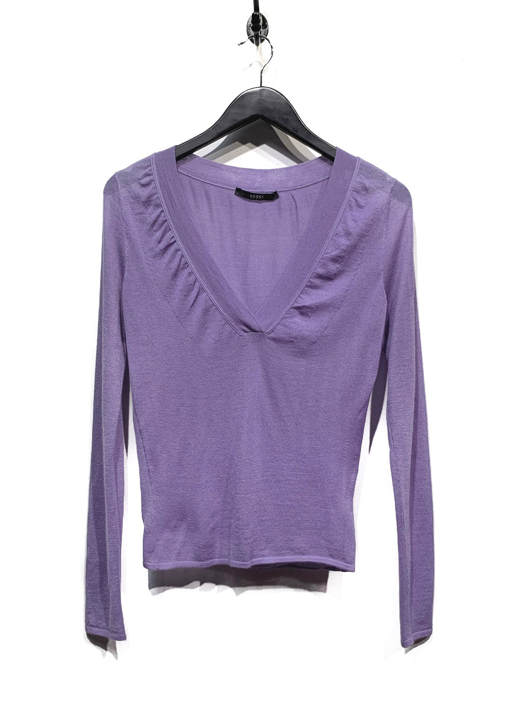 Gucci Lilac Cashmere V-Neck Sweater