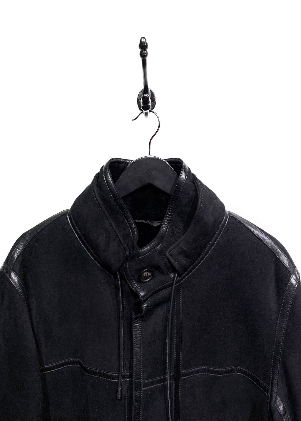 Fendi Black Leather Trim Shearling Coat