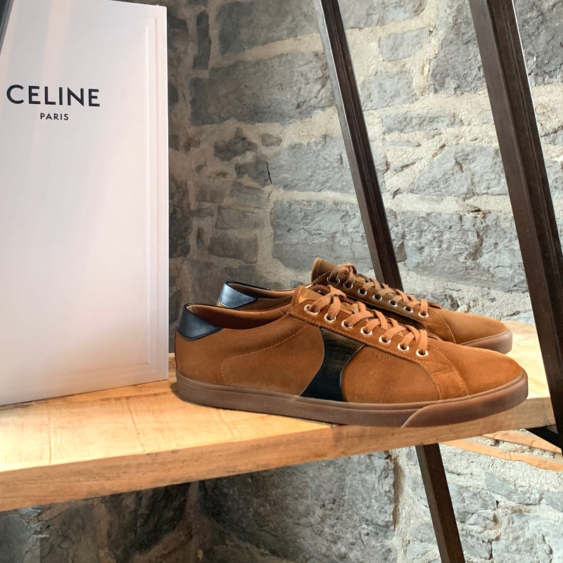 Celine Havana Brown Suede Triomphe Low-top Sneakers