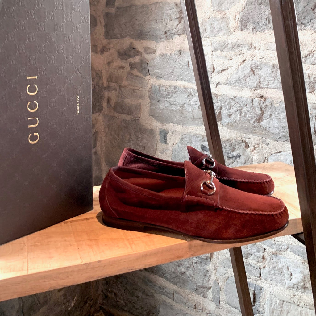 Gucci Burgundy Suede Horsebit Loafers