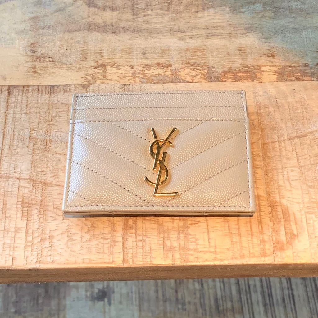 Saint Laurent Nude Powder Monogram Matelassé Card Holder
