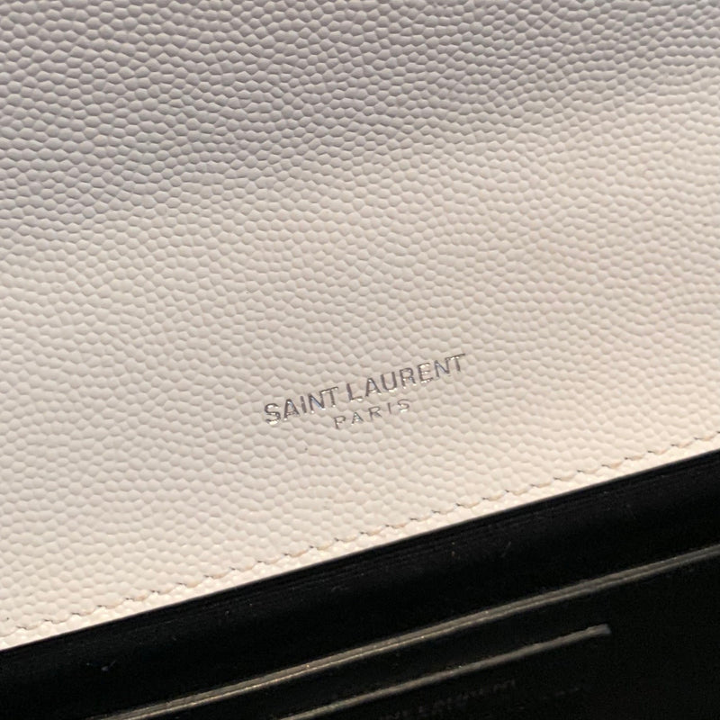 Saint Laurent White Silver Grain De Poudre Monogram Cassandre Clutch
