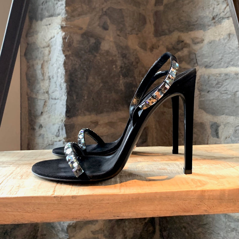 Gucci Black Suede Mallory Crystal Heeled Sandals