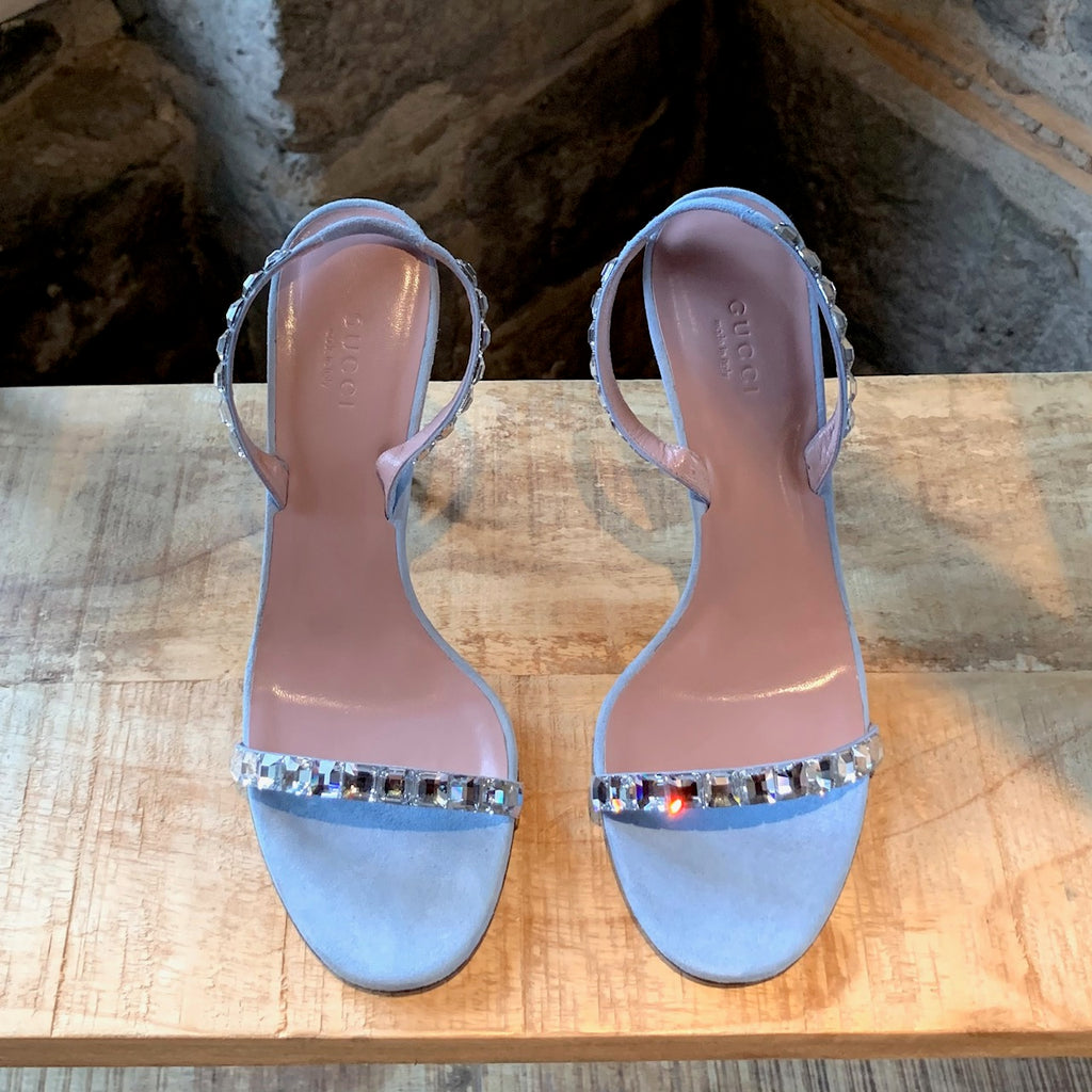 Gucci Baby Blue Suede Mallory Crystal Heeled Sandals