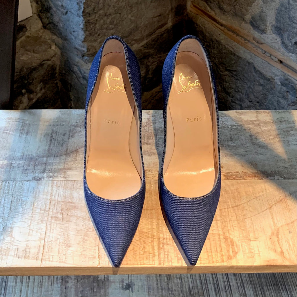 Christian Louboutin Navy So Kate 120 Denim Jazz Pumps