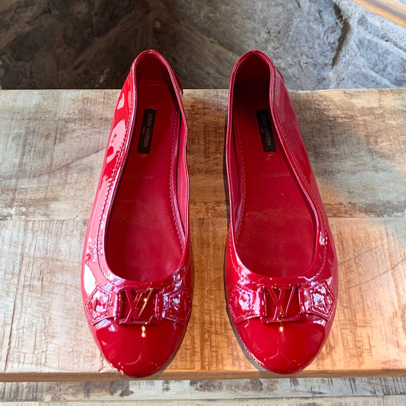Louis Vuitton Red Leather Patent Oxford Ballerinas