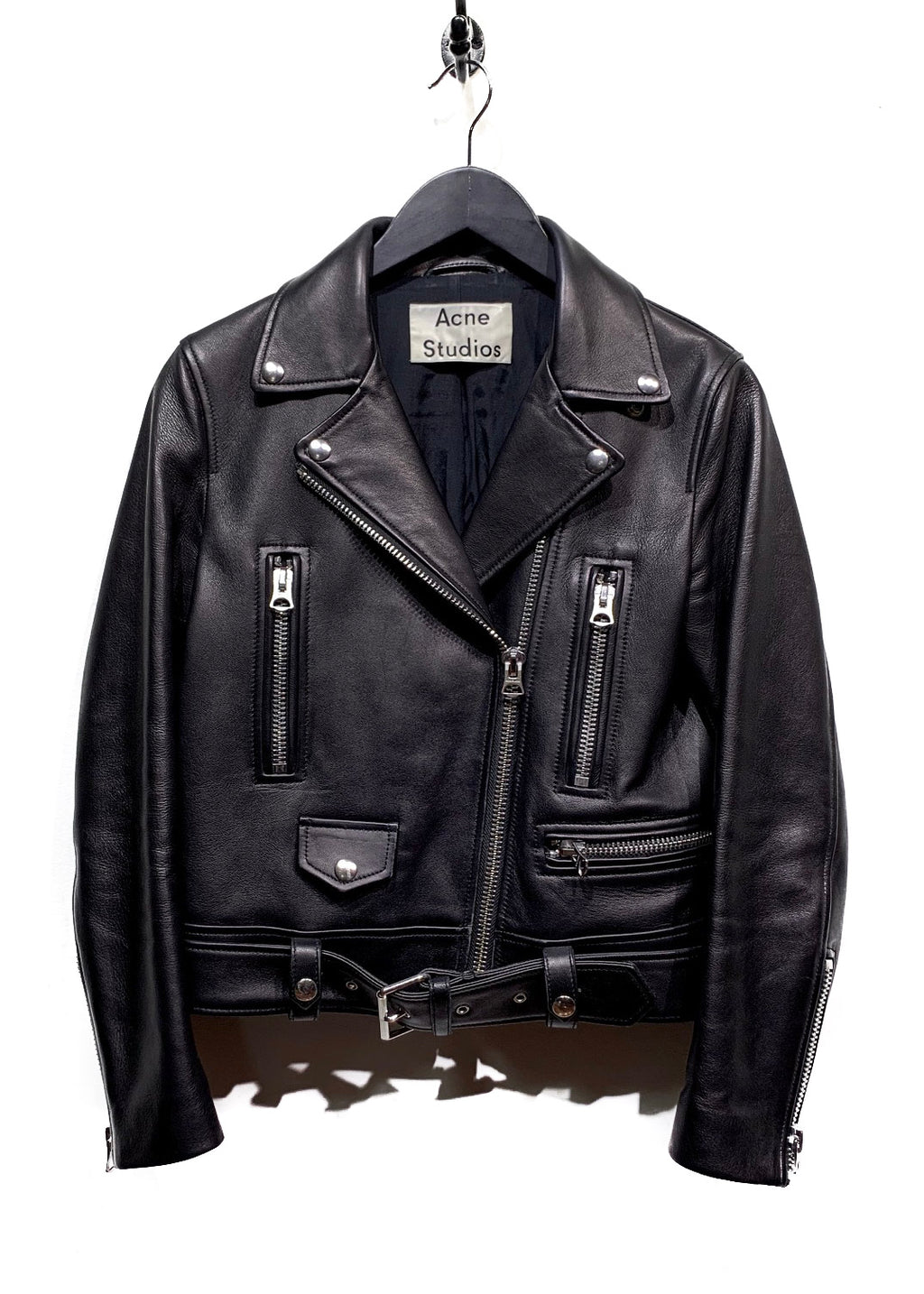 Acne Studios Mock Black Leather Moto Biker Jacket